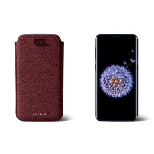 Samsung Galaxy S8+ pouch with pull-up strap - Burgundy - Goat Leather