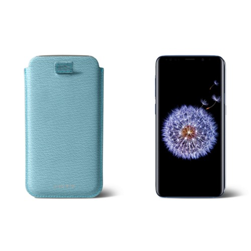 Samsung Galaxy S8+ pouch with pull-up strap - Sky Blue - Goat Leather