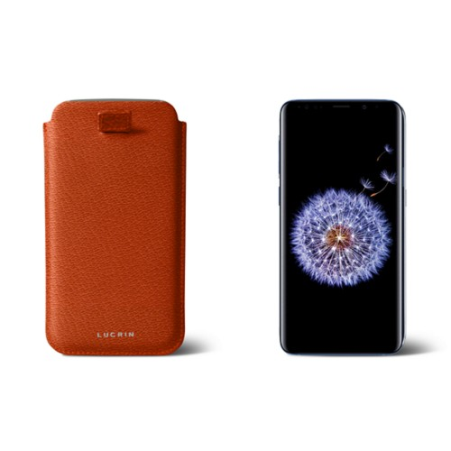 Samsung Galaxy S8+ pouch with pull-up strap - Orange - Goat Leather