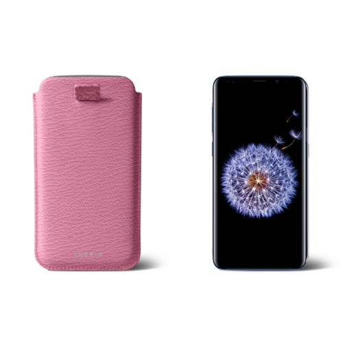 Samsung Galaxy S8+ pouch with pull-up strap - Pink - Goat Leather
