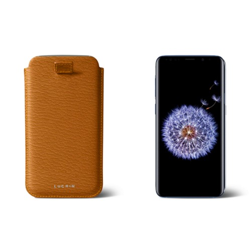 Samsung Galaxy S8+ pouch with pull-up strap - Saffron - Goat Leather