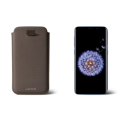 Samsung Galaxy S8+ pouch with pull-up strap - Dark Taupe - Goat Leather