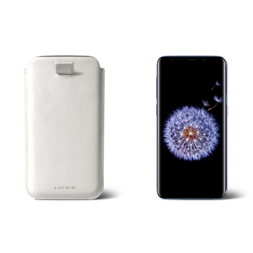 Samsung Galaxy S8+ pouch with pull-up strap - White - Smooth Leather