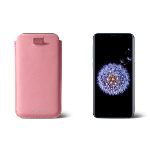 Samsung Galaxy S8+ pouch with pull-up strap - Pink - Smooth Leather