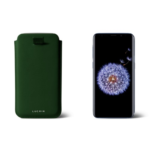 Samsung Galaxy S8+ pouch with pull-up strap - Dark Green - Smooth Leather