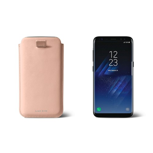 Samsung Galaxy  S8 Plus pouch with pull-up strap - Nude - Smooth Leather