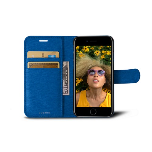 iPhone 7 wallet case - Royal Blue - Goat Leather