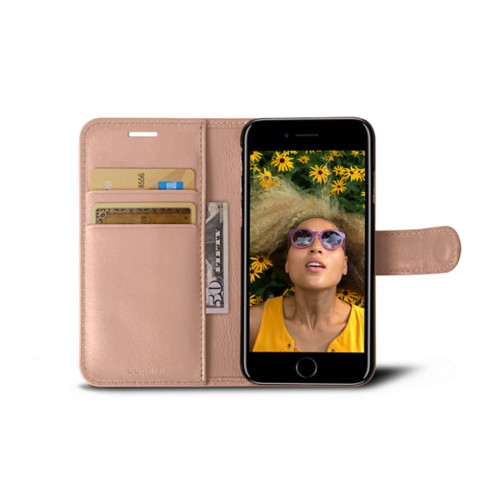 iPhone 7 wallet case - Nude - Smooth Leather