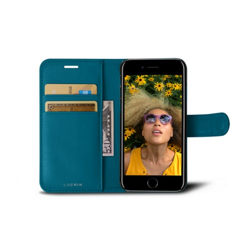 iPhone 7 wallet case - Turquoise - Smooth Leather
