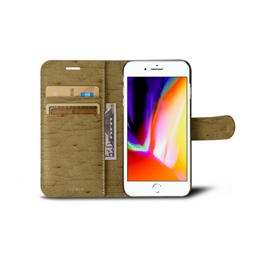 iPhone 8 wallet case - Beige - Real Ostrich Leather