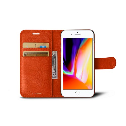 iPhone 8 wallet case - Orange - Real Ostrich Leather