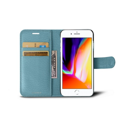 iPhone 8 wallet case - Sky Blue - Goat Leather