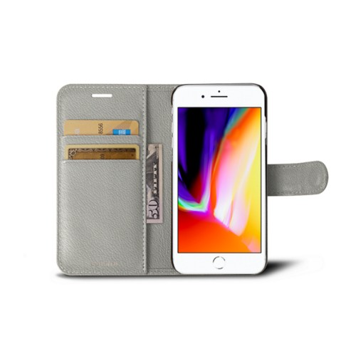 iPhone 8 wallet case - White - Goat Leather