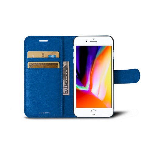 iPhone 8 wallet case - Royal Blue - Goat Leather
