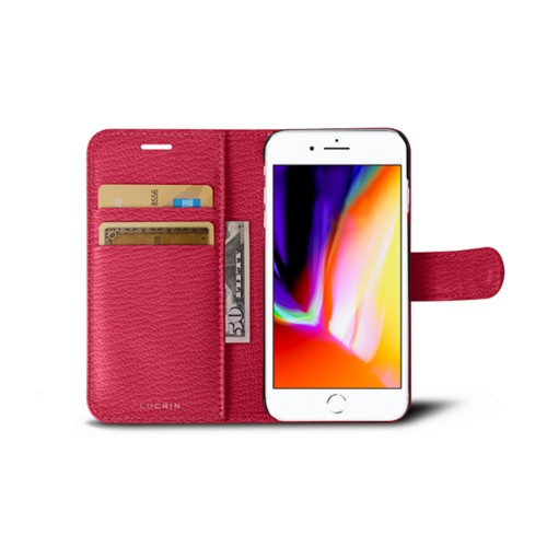 iPhone 8 wallet case - Pink - Goat Leather