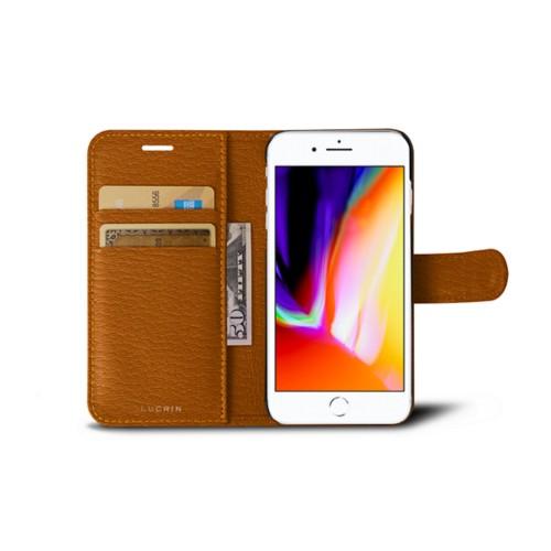 iPhone 8 wallet case - Saffron - Goat Leather