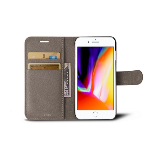 iPhone 8 wallet case - Light Taupe - Goat Leather