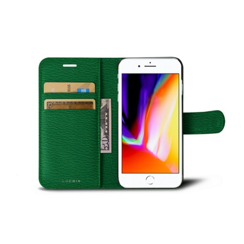 iPhone 8 wallet case - Light Green - Goat Leather
