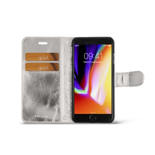 iPhone 8 wallet case - Silver - Metallic Leather