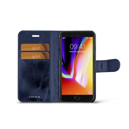 iPhone 8 wallet case - Navy Blue - Metallic Leather