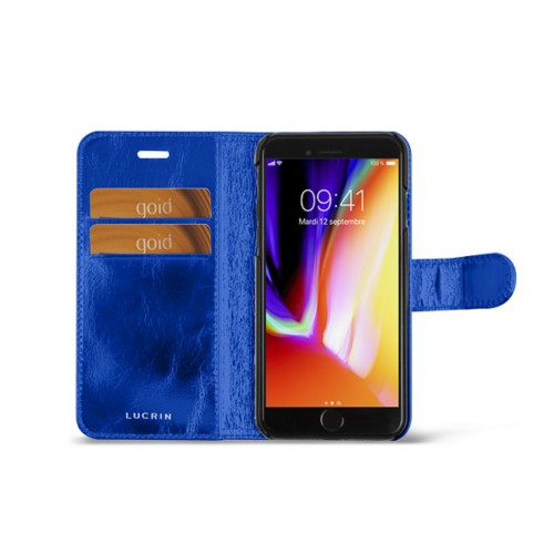 iPhone 8 wallet case - Royal Blue - Metallic Leather
