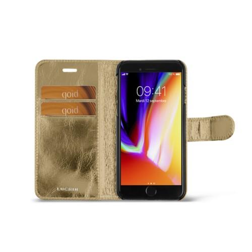 iPhone 8 wallet case - Golden - Metallic Leather