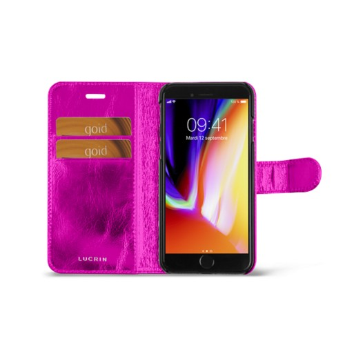 iPhone 8 wallet case - Fuchsia  - Metallic Leather