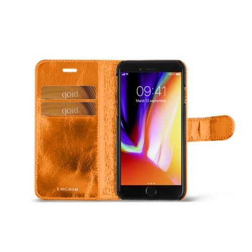 iPhone 8 wallet case - Orange - Metallic Leather