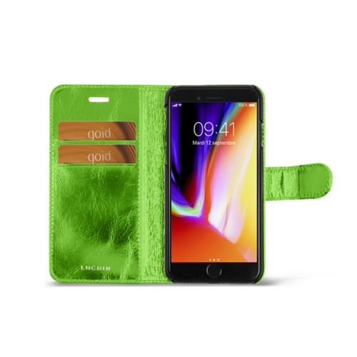 iPhone 8 wallet case - Light Green - Metallic Leather