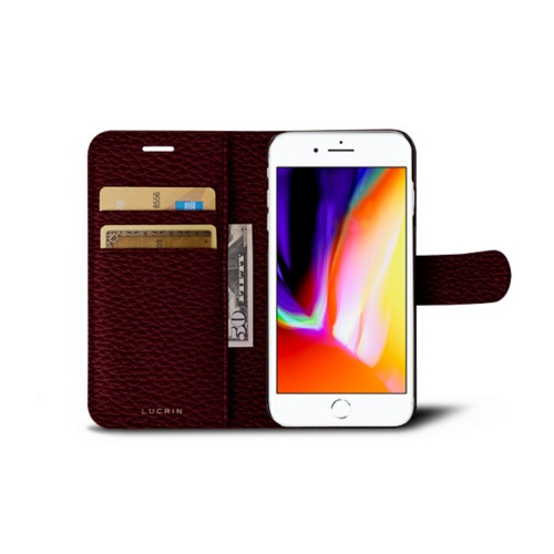 iPhone 8 wallet case - Burgundy - Granulated Leather