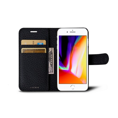 iPhone 8 wallet case - Navy Blue - Granulated Leather