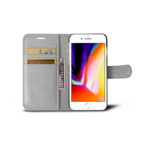 iPhone 8 wallet case - White - Granulated Leather