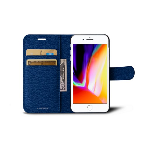iPhone 8 wallet case - Royal Blue - Granulated Leather