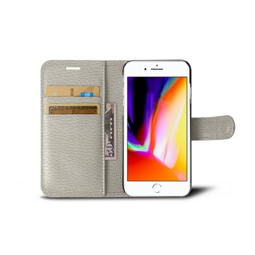 iPhone 8 wallet case - Off-White - Granulated Leather