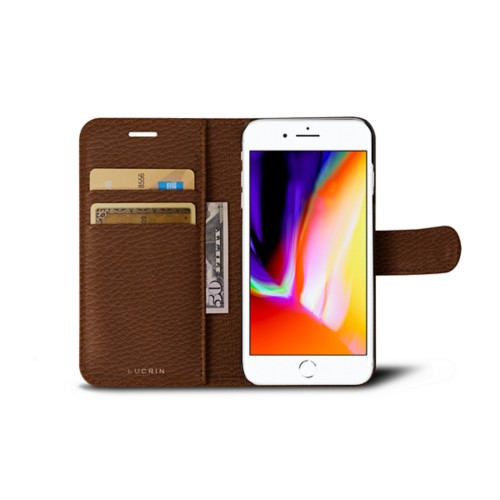 iPhone 8 wallet case - Tan - Granulated Leather