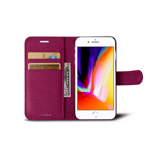 iPhone 8 wallet case - Fuchsia  - Granulated Leather