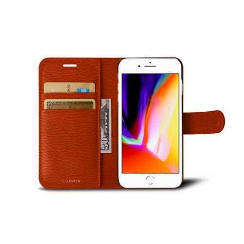 iPhone 8 wallet case - Orange - Granulated Leather