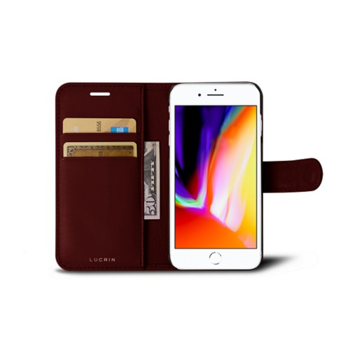 iPhone 8 wallet case - Burgundy - Smooth Leather