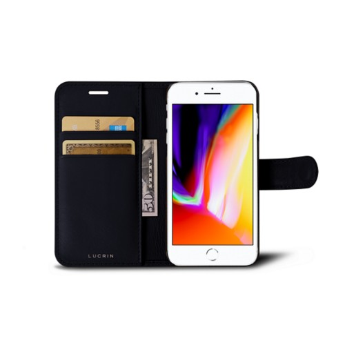 iPhone 8 wallet case - Navy Blue - Smooth Leather