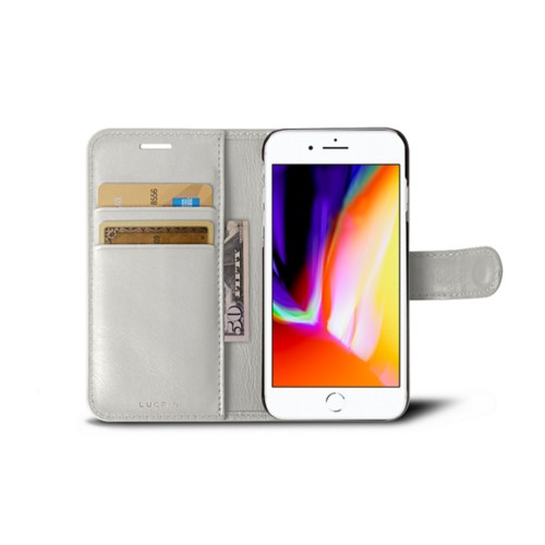 iPhone 8 wallet case - White - Smooth Leather