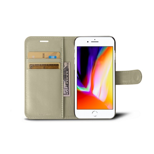 iPhone 8 wallet case - Off-White - Smooth Leather