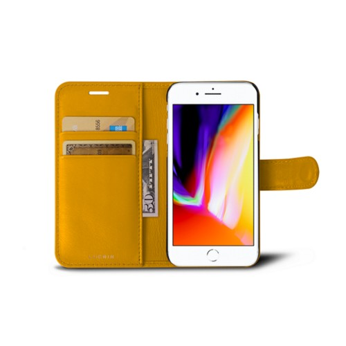 iPhone 8 wallet case - Sun Yellow - Smooth Leather