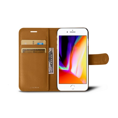 iPhone 8 wallet case - Natural - Smooth Leather