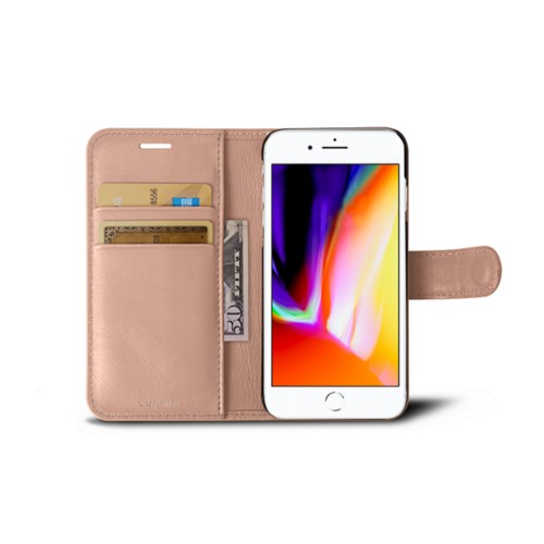 iPhone 8 wallet case - Nude - Smooth Leather