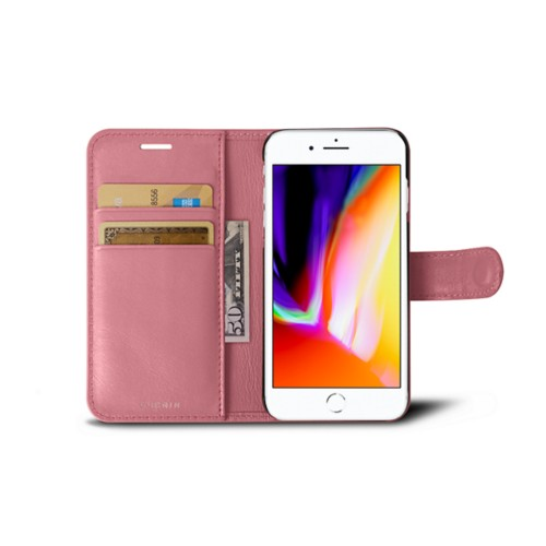 iPhone 8 wallet case - Pink - Smooth Leather