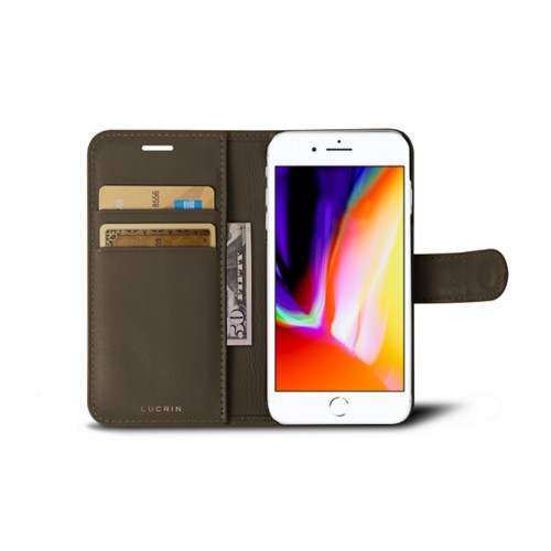 iPhone 8 wallet case - Dark Taupe - Smooth Leather