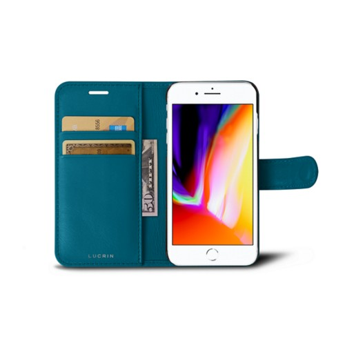 iPhone 8 wallet case - Turquoise - Smooth Leather