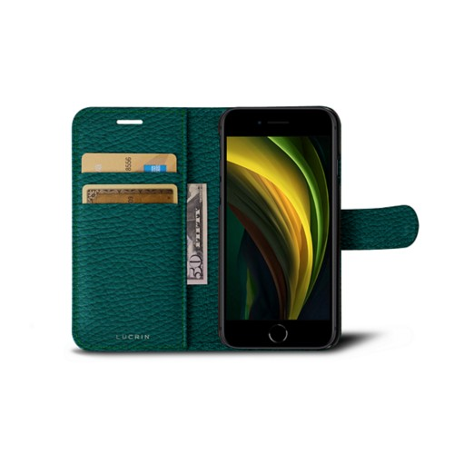iPhone SE Wallet Case - Avocado - Granulated Leather