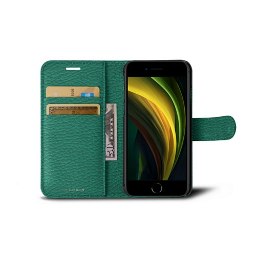 iPhone SE Wallet Case - Emerald - Granulated Leather