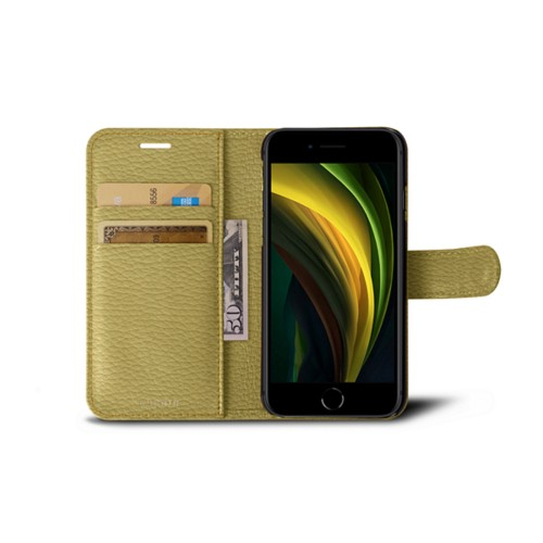 iPhone SE Wallet Case - Mustard Yellow - Granulated Leather